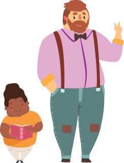 illustration of man and a child holding a book