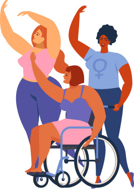 Three women, two standing and one sitting in a wheelchair